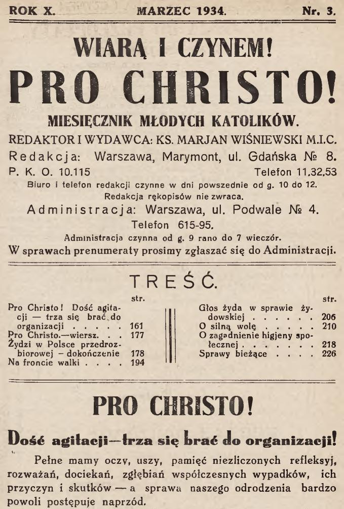 Pro Christo, marzec 1934, Nr 3