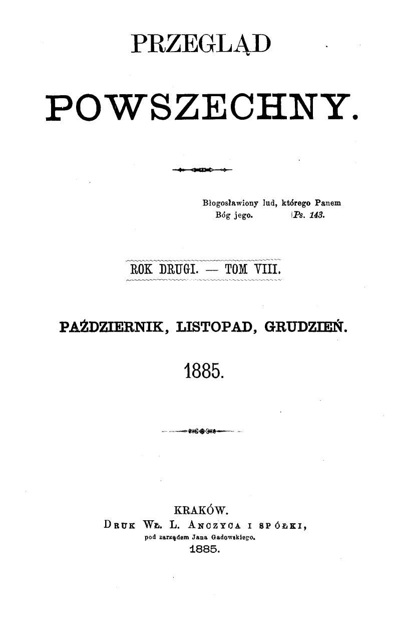 """""""Przegląd Powszechny"""", Tom 8, 1885 r."""