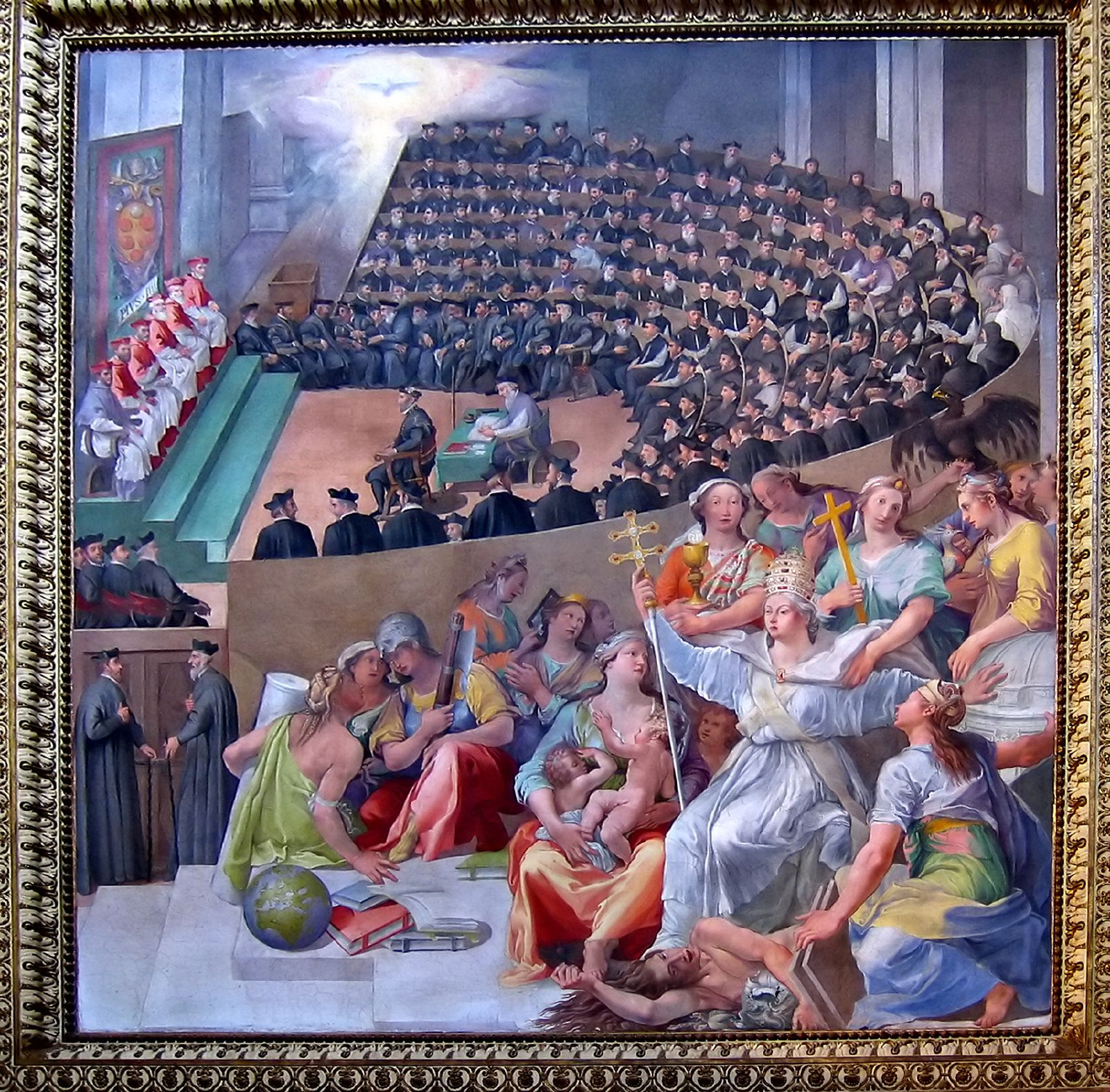 Kościół triumfujący (Ecclesia Triumphans) niszczy herezję;