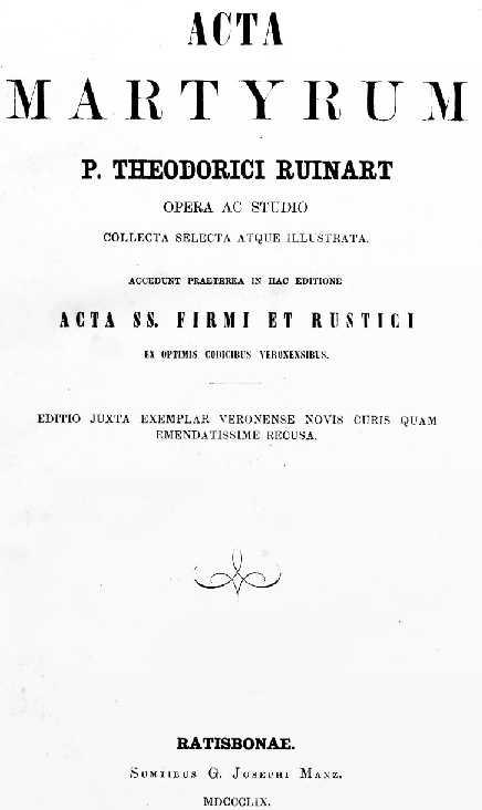 Acta Martyrum Acta Proconsularia Sancti Cypriani