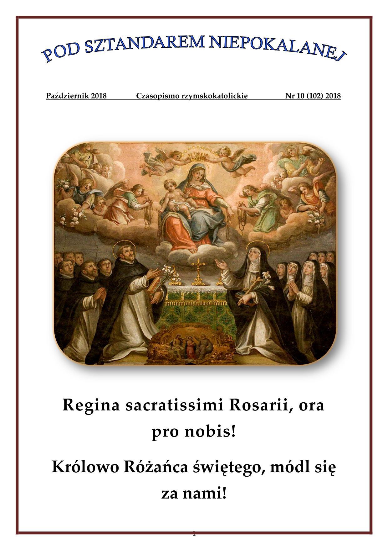 """""""Pod sztandarem Niepokalanej"""". Nr 102. Październik 2018. Czasopismo rzymskokatolickie."""