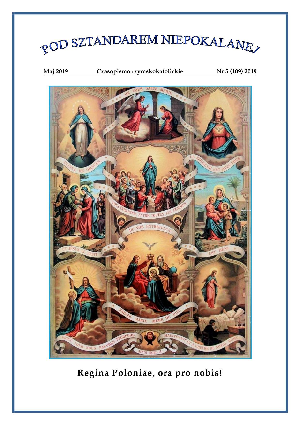 """""""Pod sztandarem Niepokalanej"""". Nr 109. Maj 2019. Czasopismo rzymskokatolickie."""