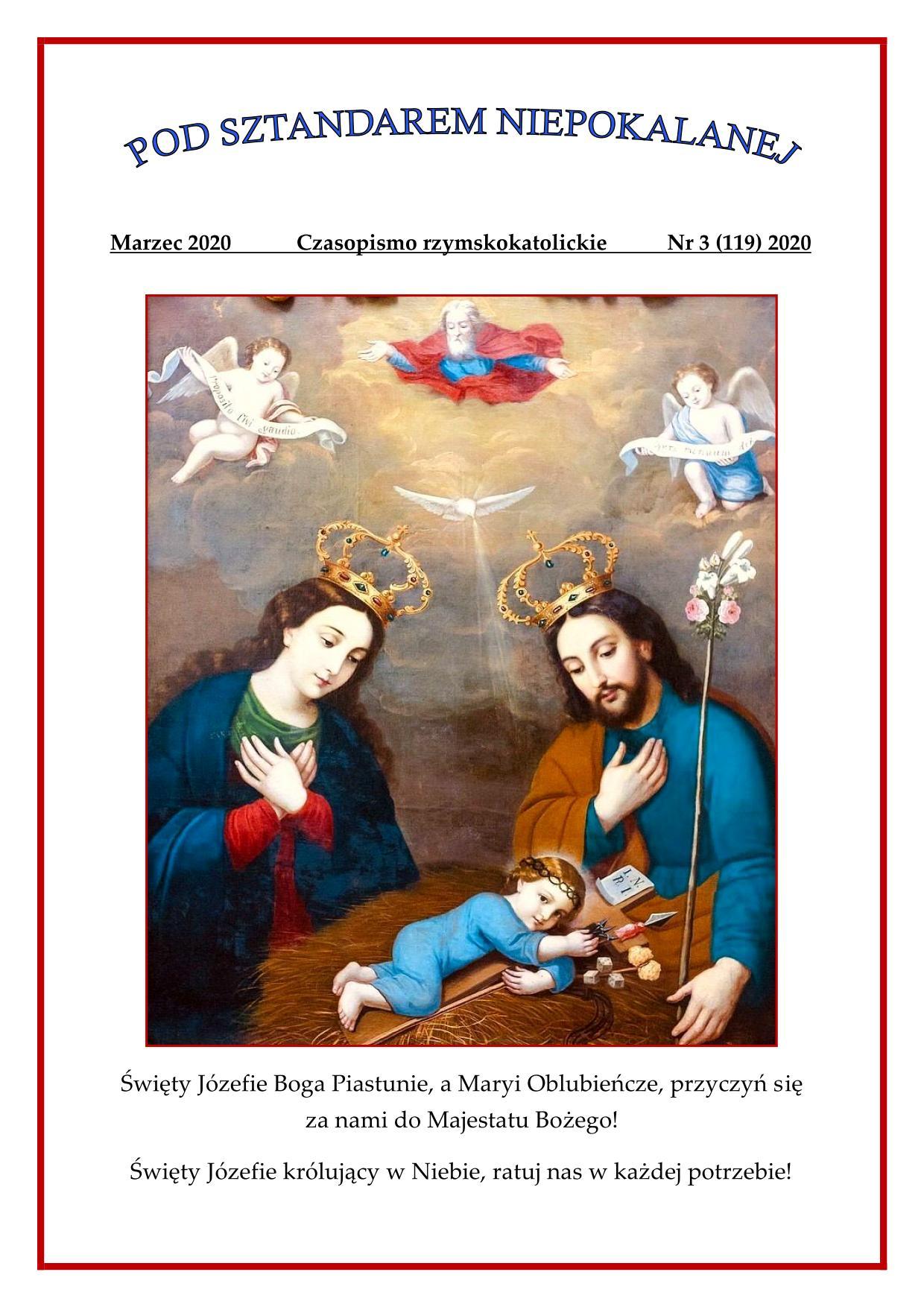 """""""Pod sztandarem Niepokalanej"""". Nr 119. Marzec 2020. Czasopismo rzymskokatolickie."""