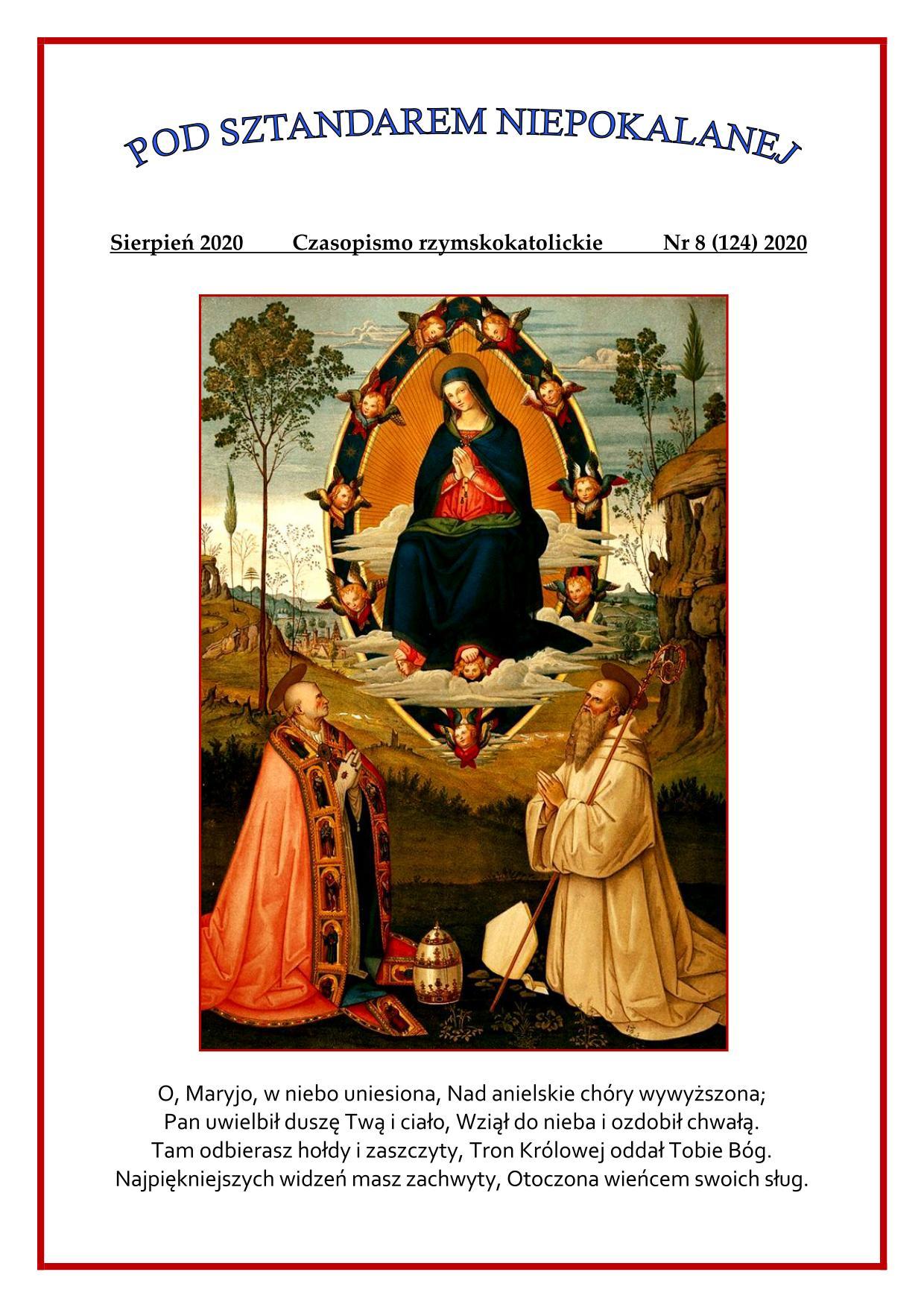 """""""Pod sztandarem Niepokalanej"""". Nr 124. Sierpień 2020. Czasopismo rzymskokatolickie."""