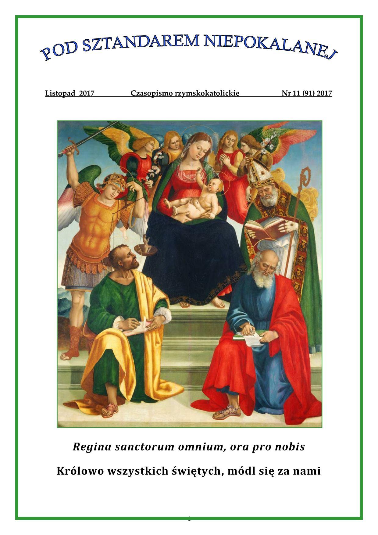 """""""Pod sztandarem Niepokalanej"""". Nr 91. Listopad 2017. Czasopismo rzymskokatolickie."""