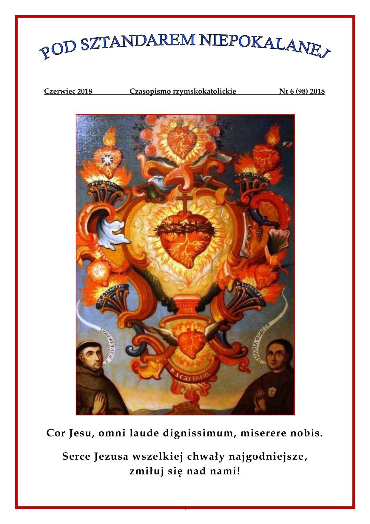 """""""Pod sztandarem Niepokalanej"""". Nr 98. Czerwiec 2018. Czasopismo rzymskokatolickie."""